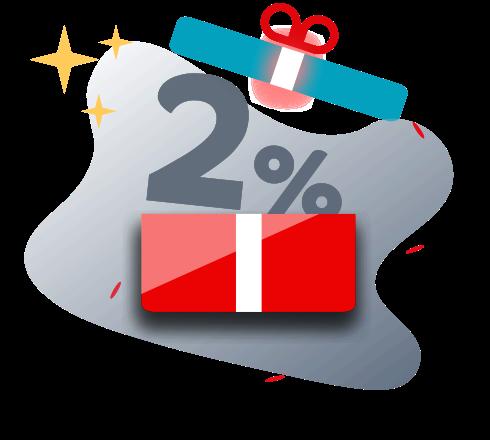 Acumule no mínimo 2%